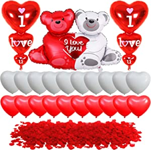 I Love You Balloons with Teddy Balloon Kit - 2000 Pcs Red Rose Petals | Red and White Heart Balloons for Valentine Decorations | Romantic Valentines Day Balloons for Valentines Day Decorations Home