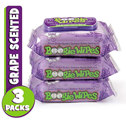 Boogie Wipes suave Salina nariz toallitas, 3, Púrpura, 1
