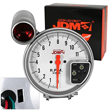 Amazon ajp distributors universal 5 white face jdm ajp distributors universal 5quot white face jdm tachometer rpm gauge with 7 color display and sciox Choice Image