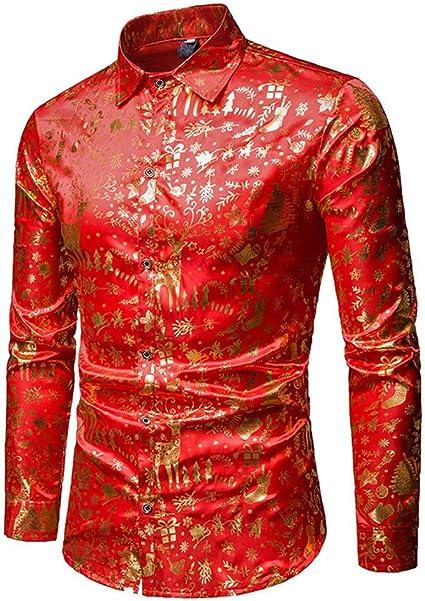 Weentop Camisa Abotonada roja con Botones Impresos de Flores ...