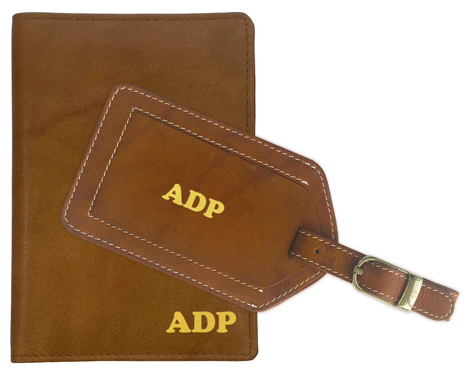 Personalized Monogrammed Antique Saddle Leather RFID Passport Wallet and Luggage Tag by 123 Cheap Checks
