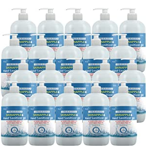 Skin Apple Hand Sanitizer Pump Gel (20 Pack x 16.9oz) - 70% Alcohol - Kills 99.99% of Germs/Scent Free Antibacterial Gel/FDA Registered/NDC # 74247-0003-1