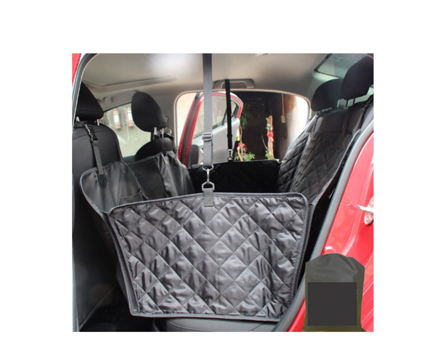 Black Manba Nonslip Waterproof Travel Dog Seat Covers Back Seat Cover With Car Safety Seat Belt,Dog Car Seat Cover With Extra Side Flaps And Hammock Congreenible Universal Pet