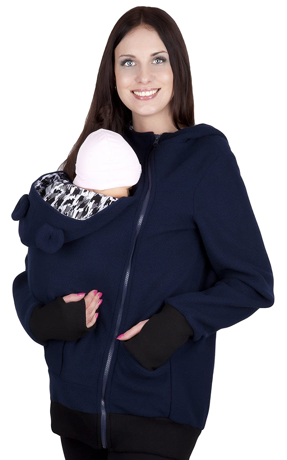 Mija - Maternity Polar warm fleece Hoodie / Pullover for two / for Baby Carriers 4019A