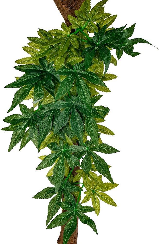 fivebull Reptile Plants, Habitat Amphibian Accessories Enclosure Decor Tank Decoration Vines for Climbing,Reptiles Glass Terrarium Decorate Artificial Grass Leaf with Suction Cup