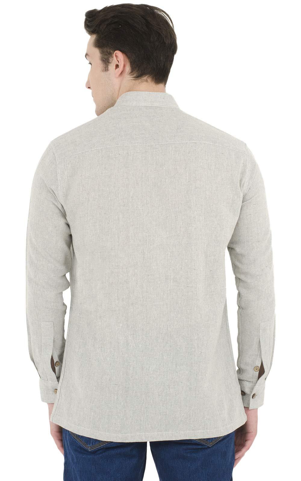 SKAVIJ Button Down Shirts for Men Cotton Long Sleeve Casual Shirts Regular Fit Grey by SKAVIJ (Image #5)