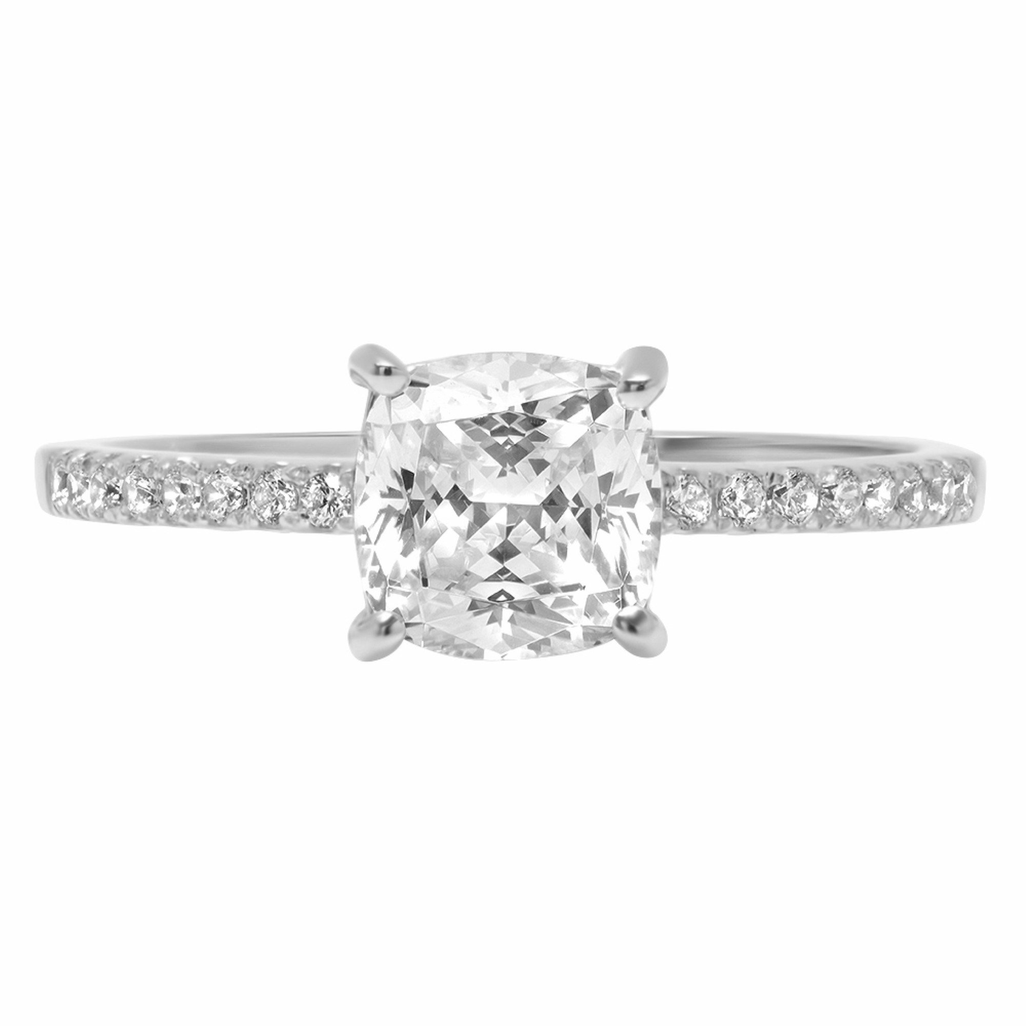 Cushion Round Cut Classic Solitaire Designer Wedding Bridal Statement Anniversary Engagement Promise Accent Solitaire Ring 14k White Gold, 1.86ct, 4 by Clara Pucci
