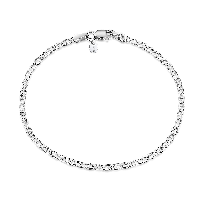 Amberta/® Bijoux Cha/îne Argent 925//1000 Bracelet Maille Maille Marine For/çat Longueur 18 19 20 cm Largeur 2.2 mm
