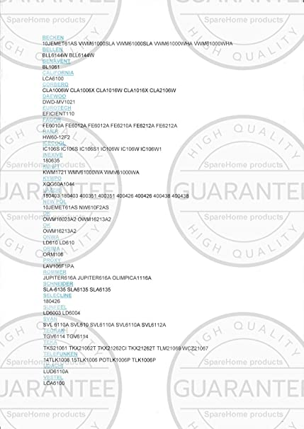 Bateaguas para lavadoras: Benavent, Corbero, Daewoo, Eurotech ...