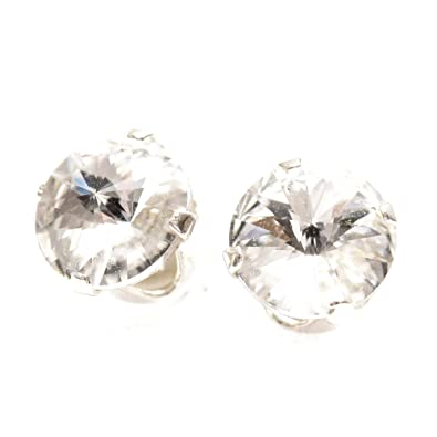 pewterhooter 925 Sterling Silver stud earrings expertly made with sparkling diamond white crystal from SWAROVSKI® for Women PRN3n5SaHB