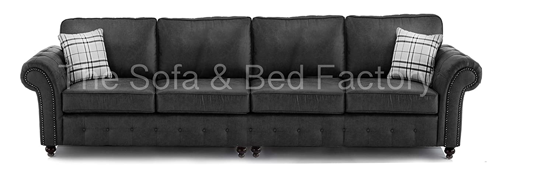 Oakridge Large Black Leather 4 Seater Sofa | Bespoke Black 4 ...
