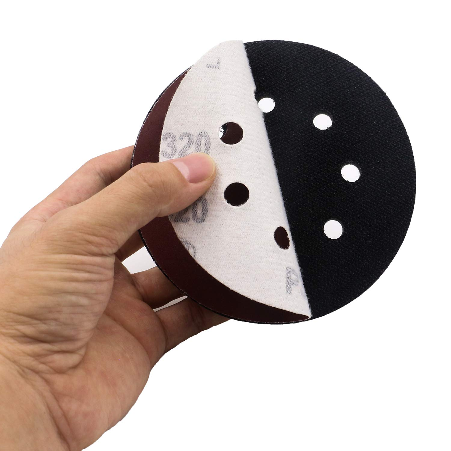 Set of 5 5 Inch 8 Holes Soft Density Interface Pads Hook and Loop 5 Sponge Cushion Buffer Backing Pad