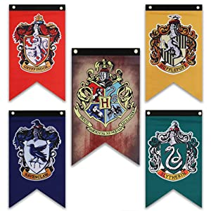 Harry Potter House Wall Banners Set - Complete Hogwarts House Wall Banner - Perfect Indoor Outdoor Party Flag - Gryffindor, Slytherin, Hufflepuff, Ravenclaw Banner Set (5 Pack) (20 inch * 12 inch)