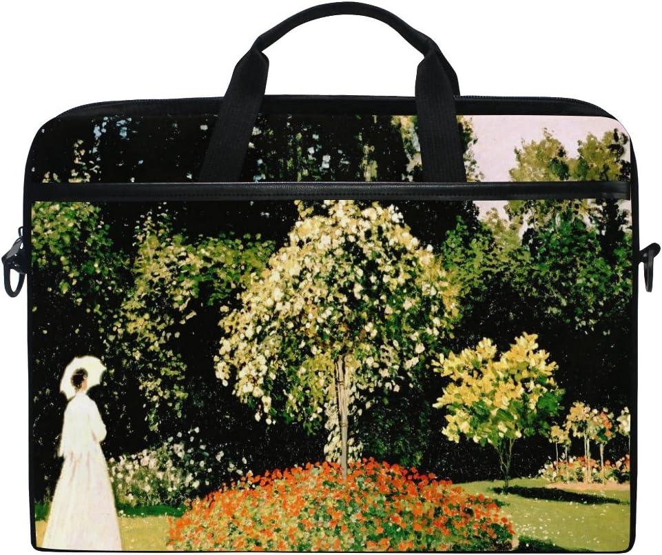 JSTEL Monet Painting Laptop Shoulder Messenger Bag Case Sleeve for 14 inch to 15.6 inch with Adjustable Notebook Shoulder Strap