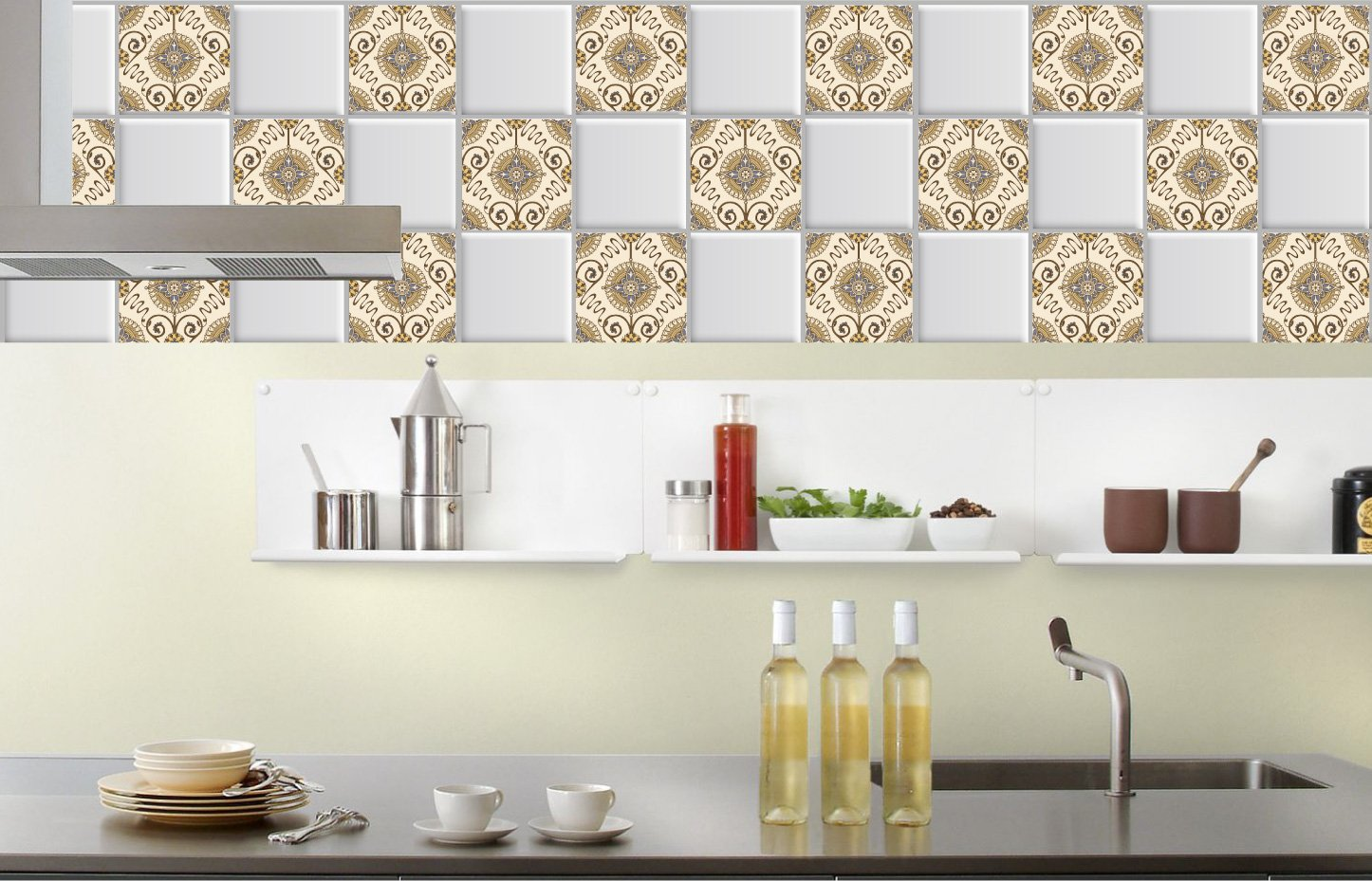 Amazon.com: Tile stickers 4x4 Inch 24 PC Set Tiles for Kitchen or ...
