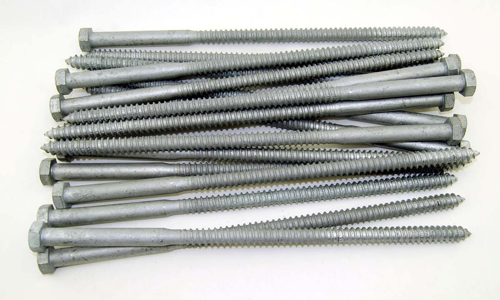 (20) Galvanized Hex Head 1/2 x 12'' Lag Bolts Wood Screws
