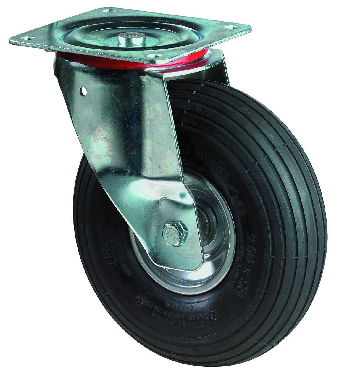 BS Rollen L400.C90.260 Transportrolle, Lenkrolle, Ø 260 mm, Anschraubplatte, Luftrad, Radkörper Stahl