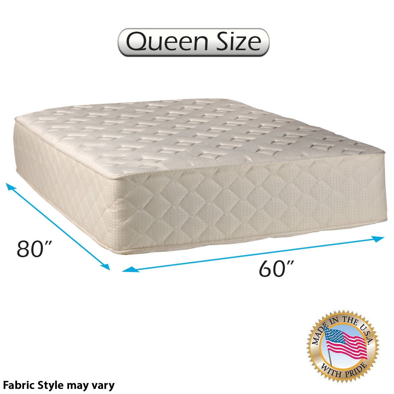 Highlight Luxury Firm Queen Size 60 x80 x14 Mattress Only – Fully Assembled – Spinal Back Support, Innerspring Coils, Premium Edge Guards, Longlasting Comfort – by Dream Solutions USA