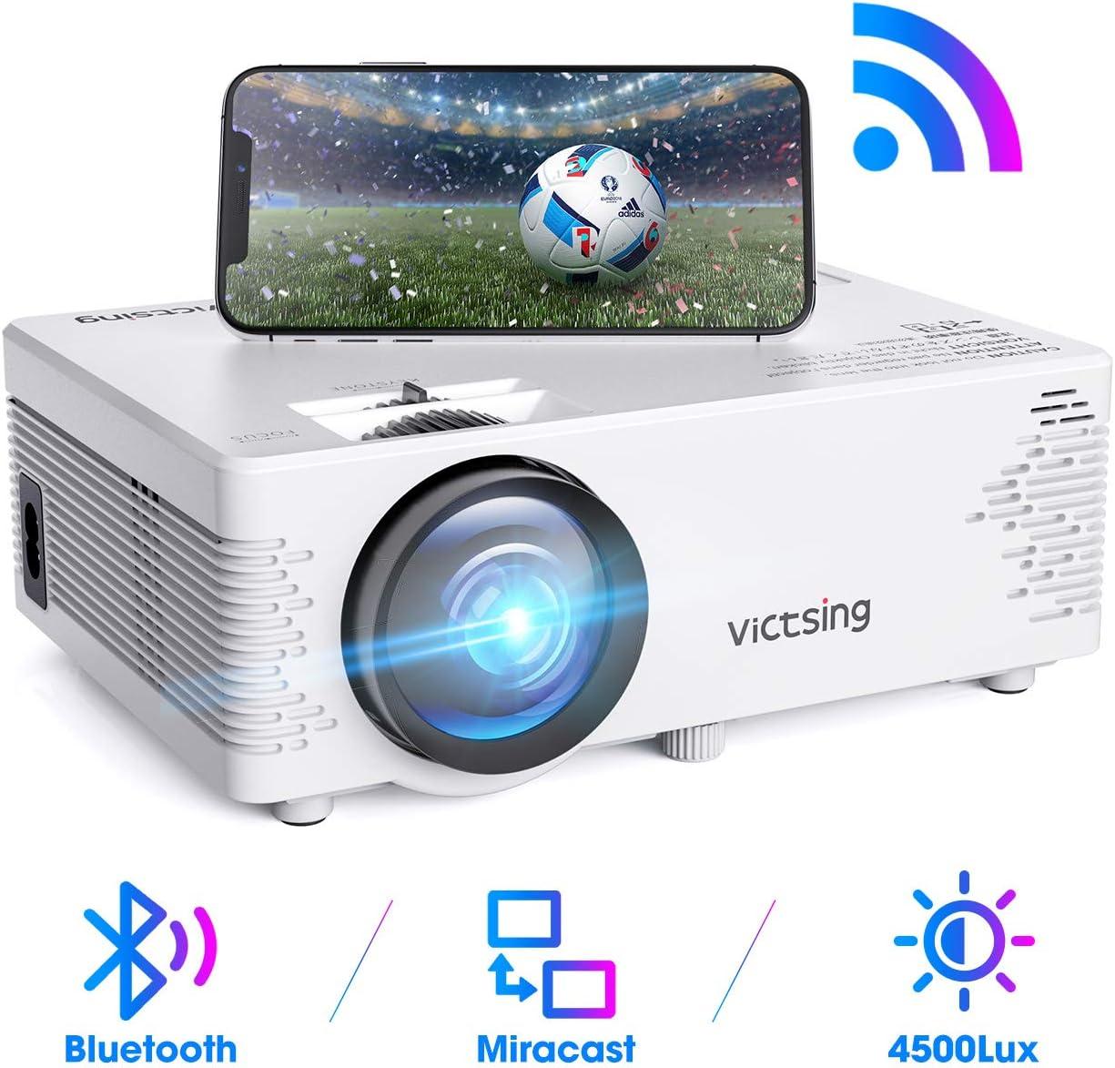 kompatibel mit iPhone // Android-Smartphone // iPad // Mac // Laptop // PC 【2020 Neu】 WiFi Beamer Wireless Projektor 4500 Lumen 1080P Full HD VicTsing Mini Beamer mit Bluetooth