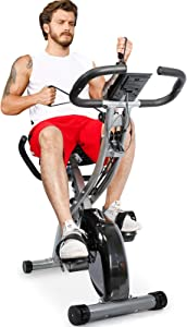 TELESPORT Magnetic Recumbent Bike with Arm Bands, Folding Exercise Bike with Heart Monitor, Indoor Cycling Stationary Bike, 8 Level Resistance, Adjustable Seat & Transport Wheels