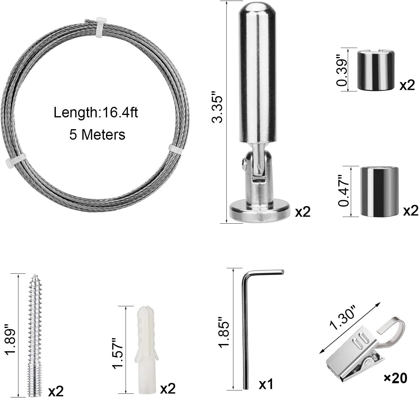 Pinowu Tringle /à rideaux avec 20/clips supporte une charge de 30/kg multifonction en acier inoxydable 5/m/ètres fil de suspension