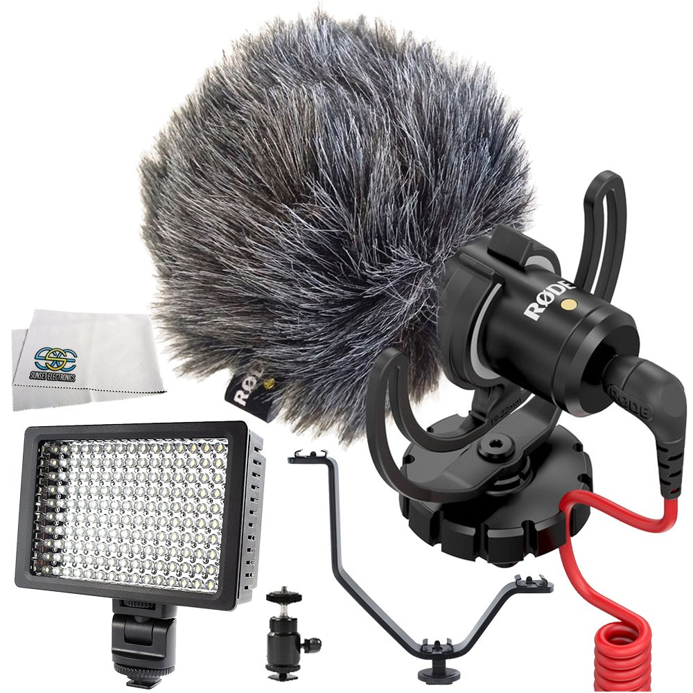 Rode VideoMicro Compact On-Camera Microphone 5PC Accessory Kit. Includes Hot Shoe Mount + Triple Hot Shoe Bracket + 160 LED Video Light + Cleaning Cloth