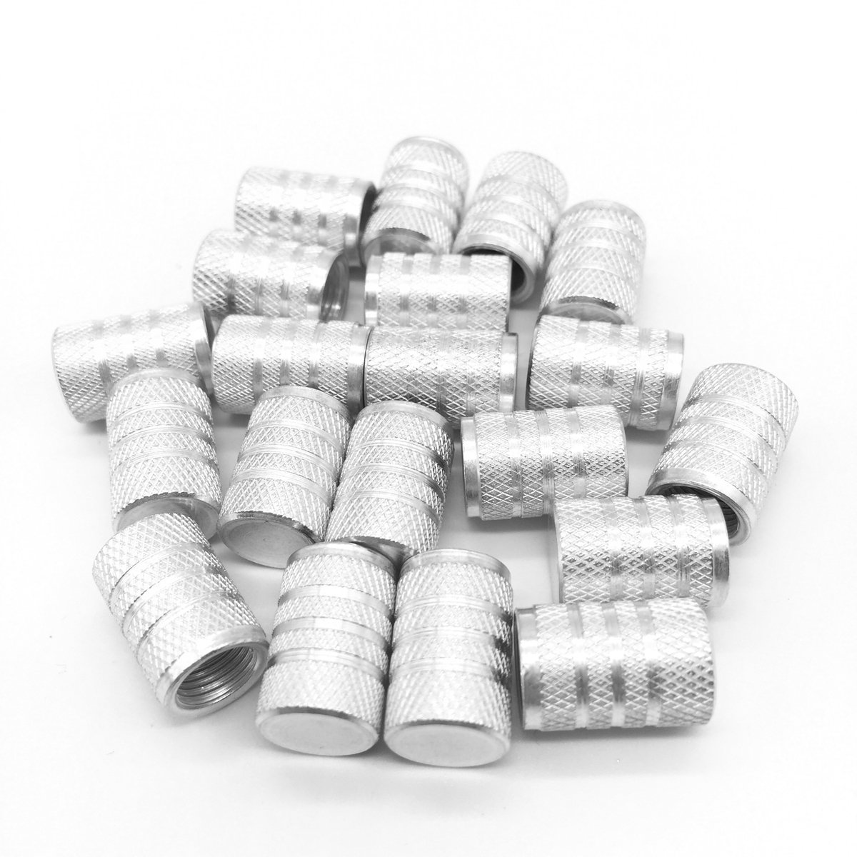 Lantee 20 Pcs Silver Tire Valve Stem Caps for Cars - Aluminium Pressure Covers Fit for BMW, Chevy, Honda, Toyota, Jeep, Ford, Dodge, Mazda, Chevrolet, Subaru, Nissan, GMC, Acura, Mercedes Benz