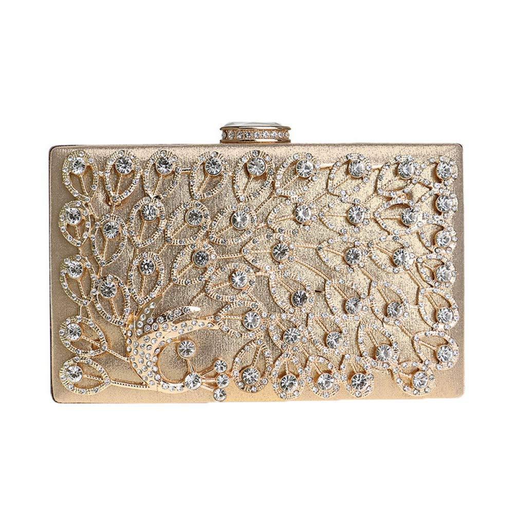 Damen Clutch Bag Pfau Diamant Blaumen Abendtasche Hochzeit Handtasche Party Prom Handtaschen für Frauen (Farbe   Gold, Größe   20  12  4cm) B07P7FJ66R Clutches Trendy