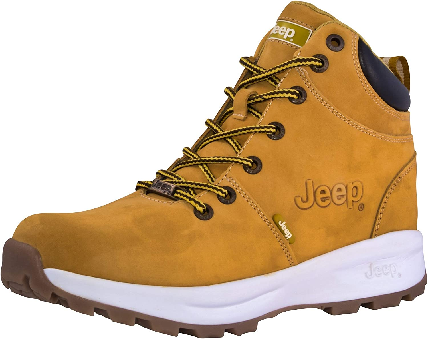 Jeep Men s Yellow Boots Hiking Ankle High Leather Shoes