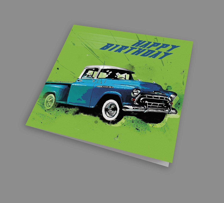 Chevy Pickup Cool American Car Happy Birthday Art Card
