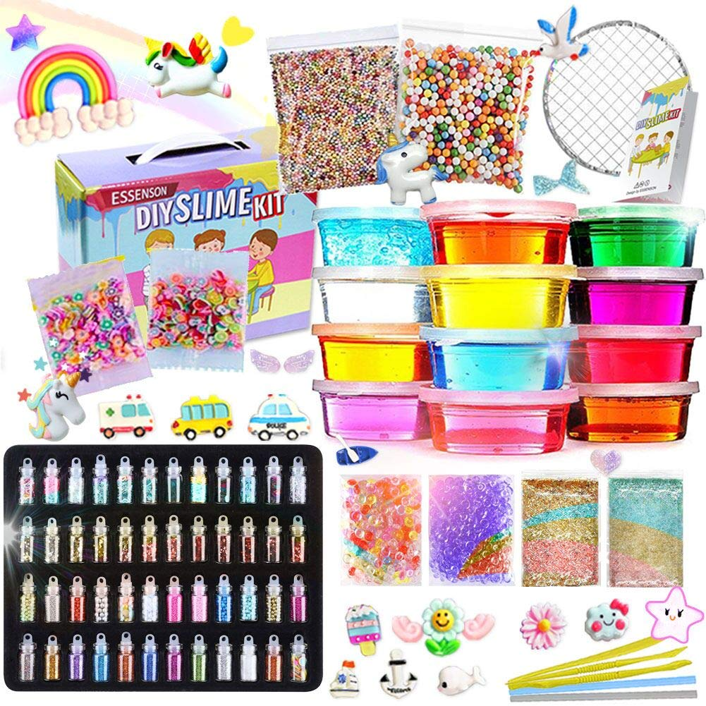 Slime Kit - Slime Supplies Slime Making Kit for Girls Boys, Kids Art Craft, Crystal Clear Slime, Glitter, Unicorn Slime Charms, Fruit Slices, Fishbowl Beads Girls Toys Gifts for Kids Age 6+ Year Old by ESSENSON