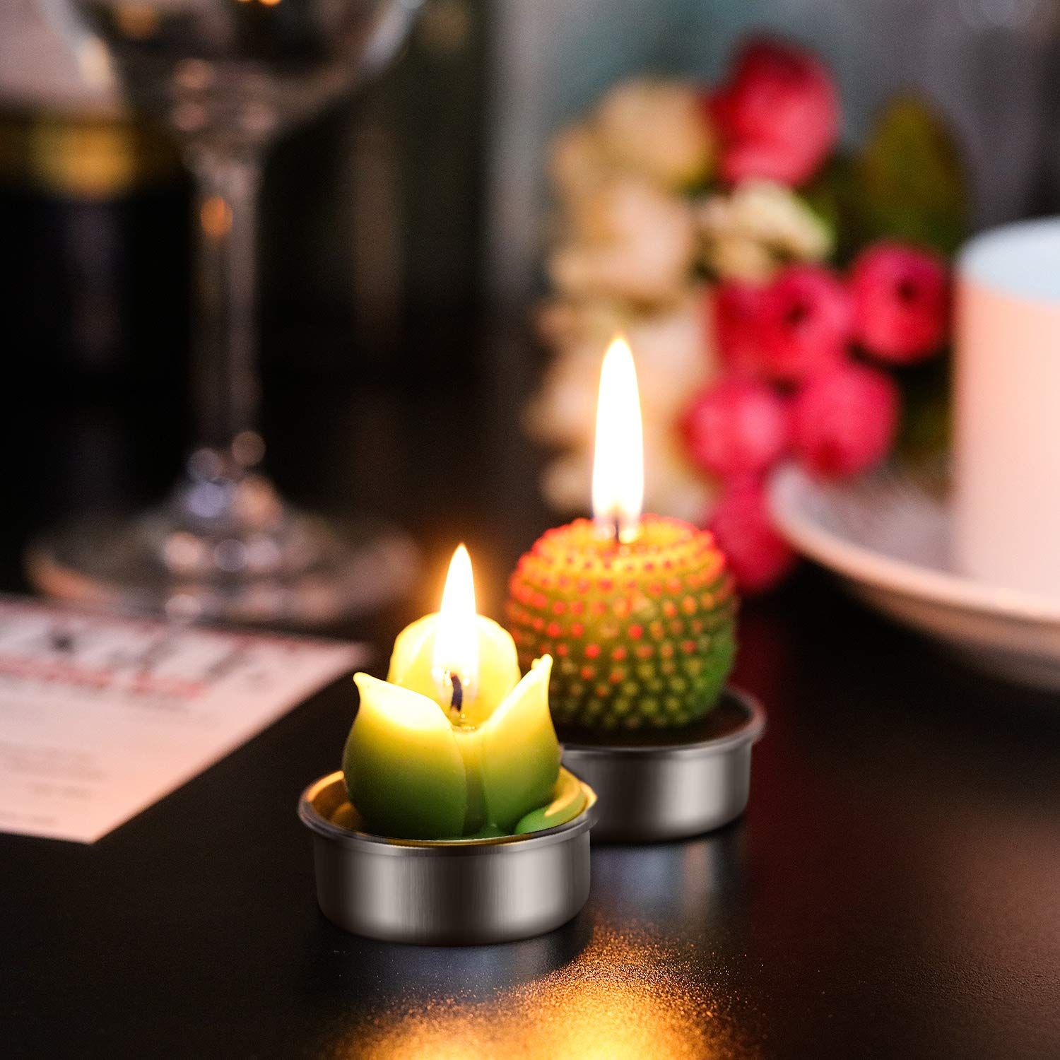 Tatuo 12 Pieces Cactus Candles Succulent Cactus Rose Tealight Handmade Candles for Teatime Spa Home Party Wedding Decoration Gifts by Tatuo (Image #6)