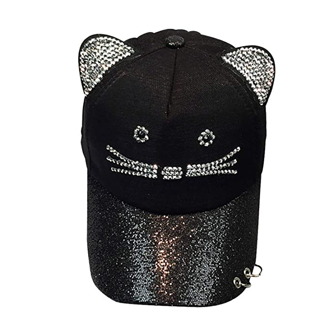 Womens Cute Cat Ear Sequin Ring Baseball Cap Hat Hip Hop Flat Hat Gorras para Hombre
