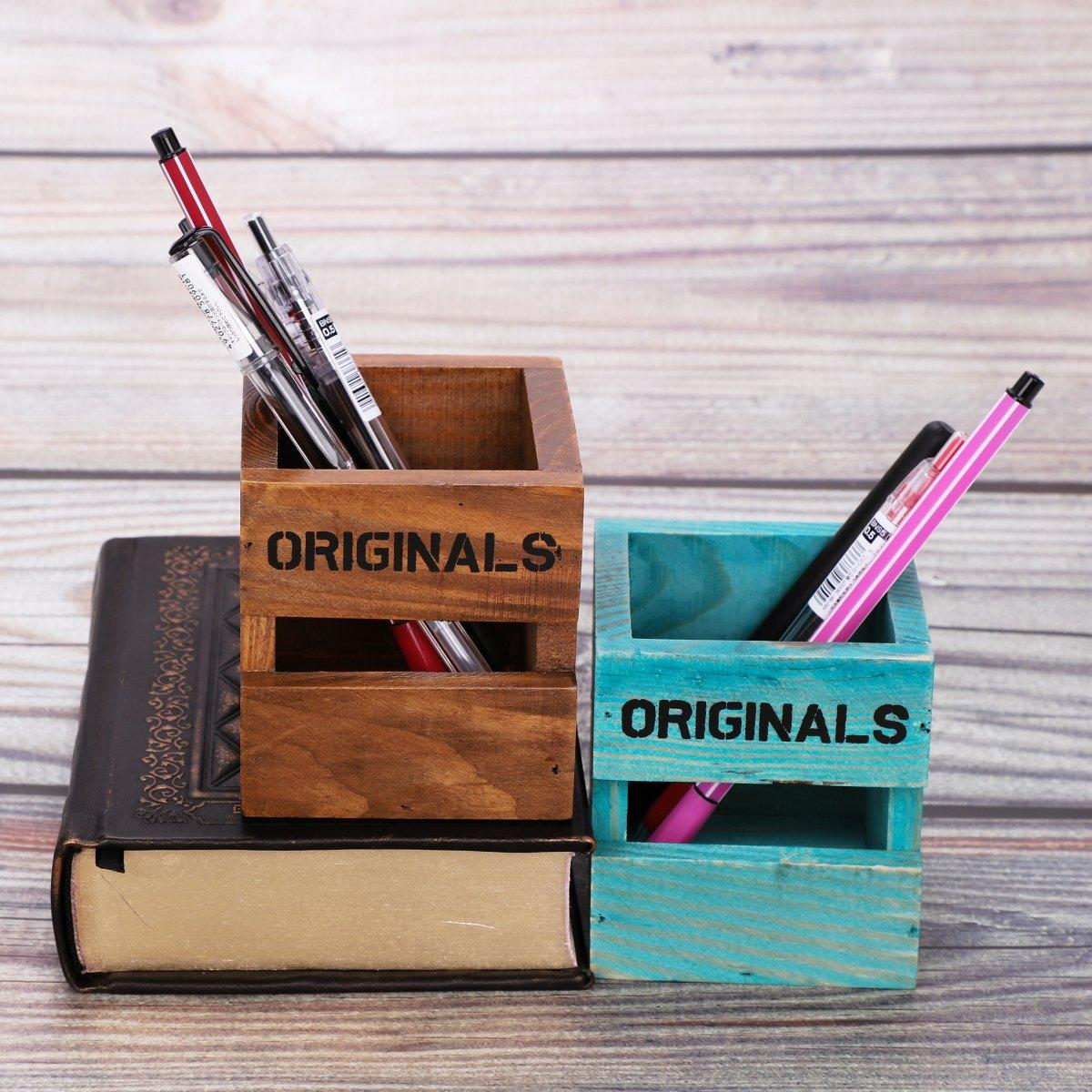 Stifthalter Kreativ retro Stiftek/öcher aus Holz B/üroszubeh/ör f/ür Schreibwaren Bleistift im B/üro Office Schreibtisch Haushalt