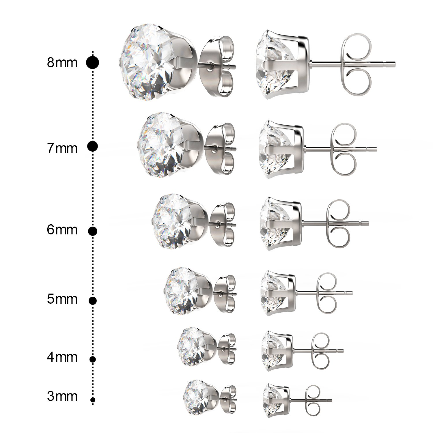 UHIBROS Womens Stainless Steel Stud Earrings Set Hypoallergenic Pierced Cubic Zirconia 6 Pairs 3-8mm