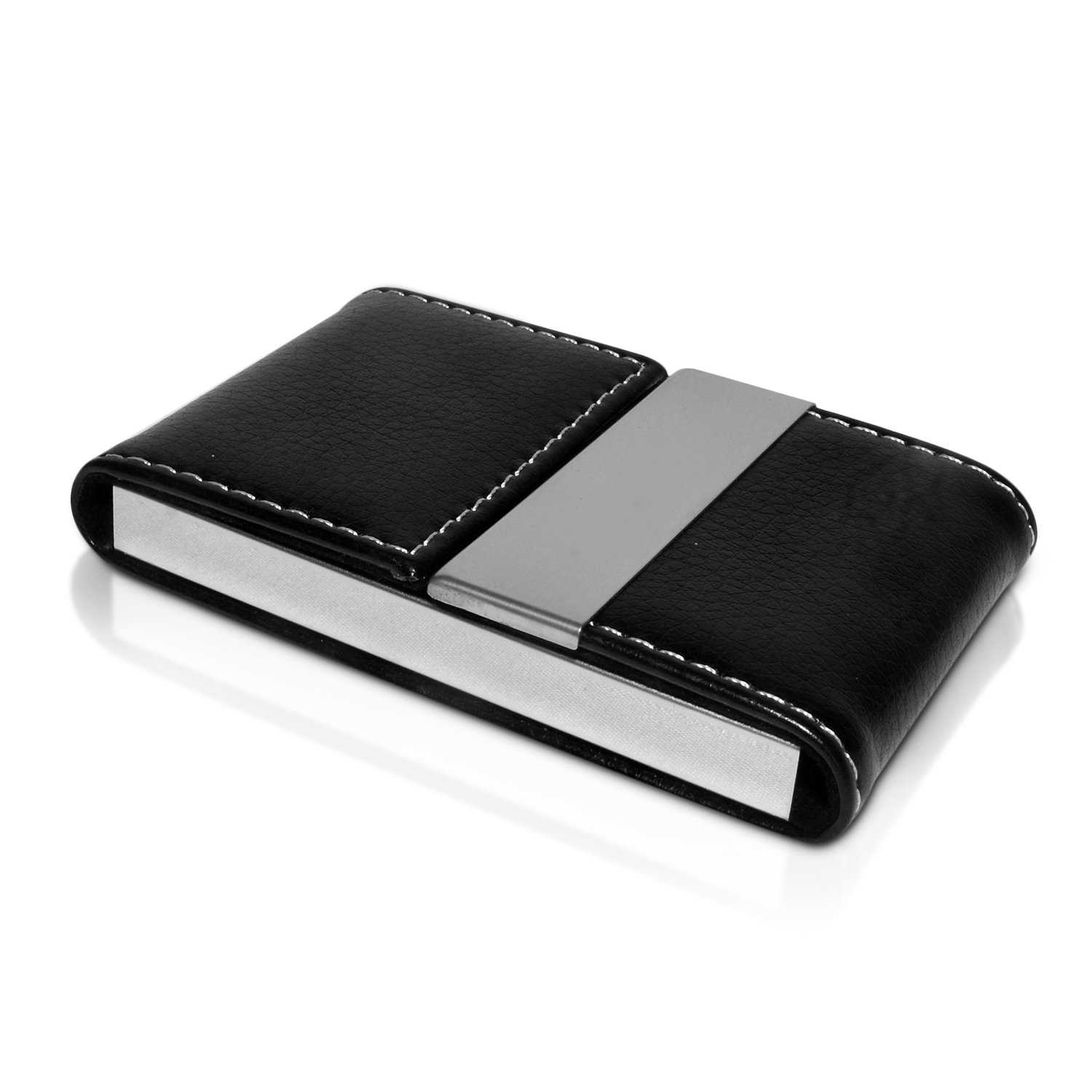 NICESTILE Business Card Holder, PU Leather Stainless Steel Name Card Case Holder with Magnetic Shut Double Sided Open (Black)