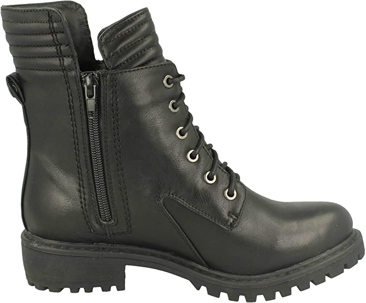 Ladies Spoton Military Style Black Ankle Boot F50325