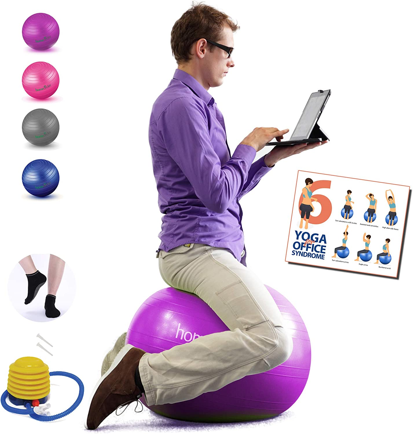 Homecircles No Roll Yoga Ball Chairs for The Office - 65cm Premier Anti-Burst Yogaball - with Grip Socks & PDF Exercise Ball Guide, Gym Quality Balance & Stability Ball Chair for Office