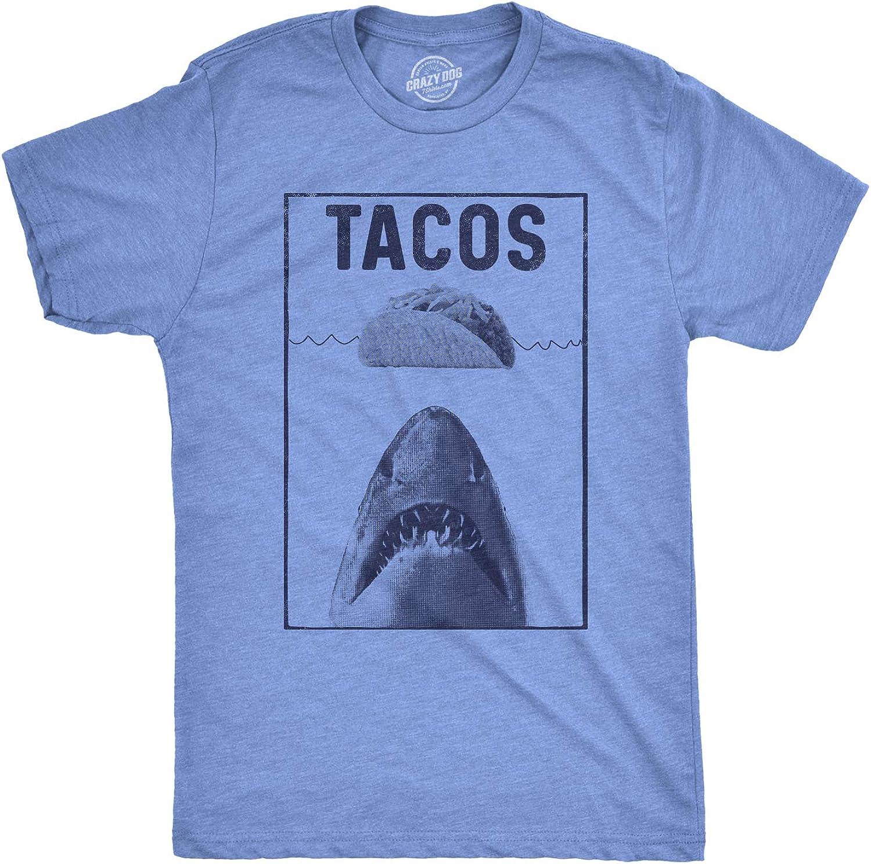 Mens Tacos Shark Tshirt Funny Jaws Cinco De Mayo Tee for Guys