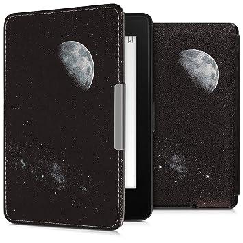 kwmobile Funda para Amazon Kindle Paperwhite - Carcasa para e-Reader de [Cuero sintético] - Case con diseño de Luna (para Modelos hasta el 2017)