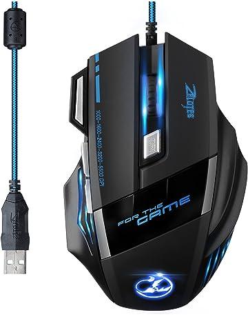 [Versión Actualizada] TOPELEK Ratón Gaming con Cable Profesional USB 5500 DPI con 5 Colores