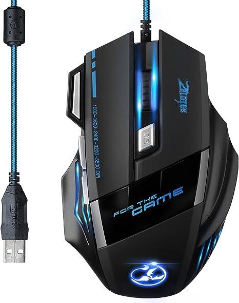Rcool 5500 DPI 7 Bot/ón LED /óptico USB con cable ratones de rat/ón de juego para Pro Gamer