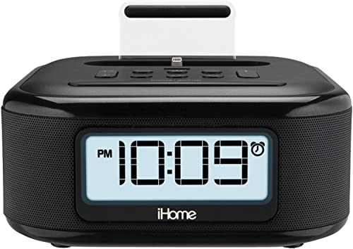 iHome iPL23 Alarm Clock FM Radio with Lightning iPhone Charging Dock Station for iPhone Xs, XS Max, XR, X, iPhone 8 7 6 Plus USB Port to Charge Any USB Device
