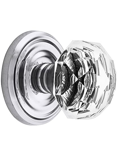Classic Rosette Set With Diamond Crystal Door Knobs Privacy Polished  Chrome. Doorsets.