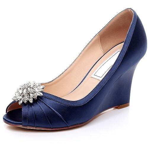 ed69f71c1 YOOZIRI Dark Blue Wedding Shoes Wedges with Silver Rhinestone Brooch  ,Medium Heels Wedge 3.5 inch