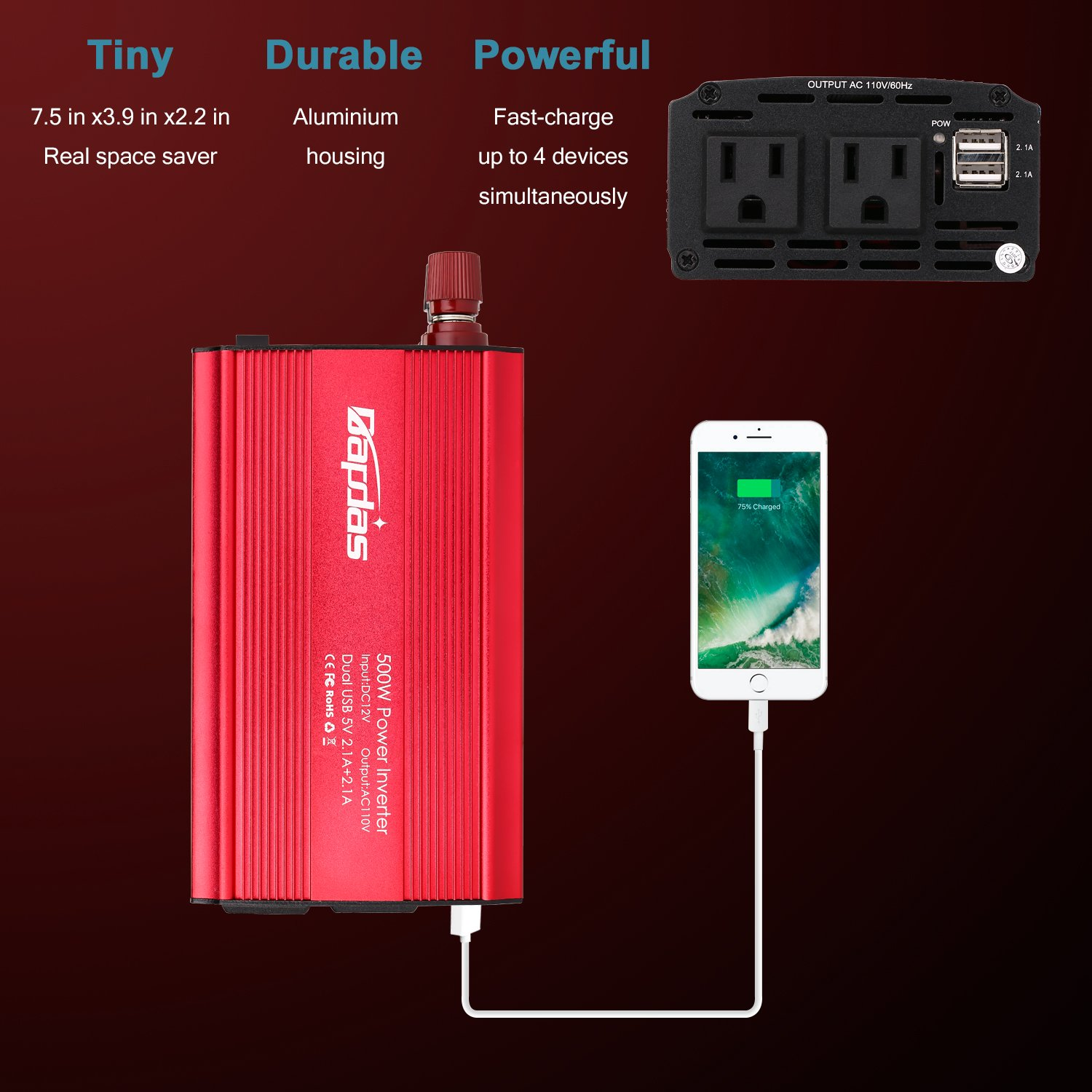 Bapdas 500W Power Inverter Converter DC 12V to AC 110V Car Charger with 4.2A 2 USB Ports Car Power Adapter-Red by Bapdas (Image #4)