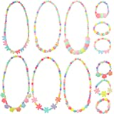 6 Sets Princess Necklace Bracelet, YSLF Little Girls Jewelry Toddler Kids Costume Jewelry for Kids