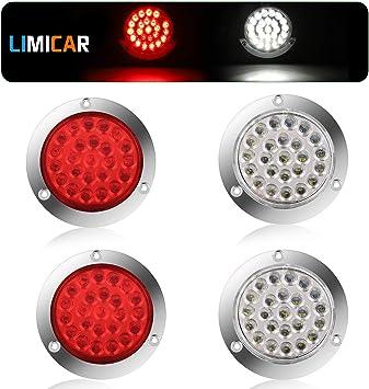 LIMICAR 4 Round LED Trailer Tail Light Red 4PCS 24 LED Brake Stop Turn Signal Brake Marker Clearance Running Lights w//Chrome Bezels for Truck Trailer RV Boat Jeep UTE UTV 12V