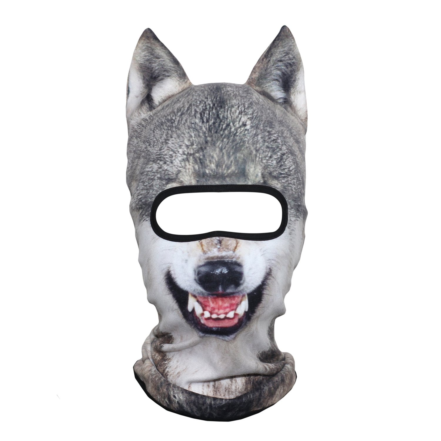 AXBXCX 3D Animal Ears Fleece Thermal Neck Warmer Windproof Hood Cover Face Mask Protection for Ski Snowboard Snowmobile Halloween Winter Cold Weather Wolf MDD-10