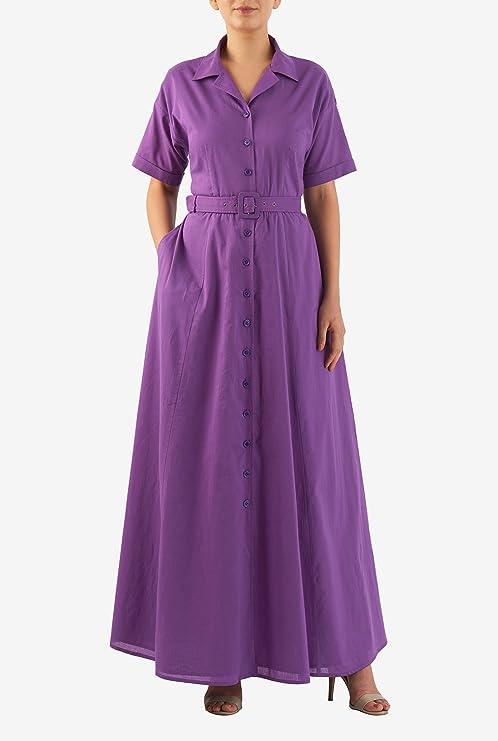 1940s Style Dresses and Clothing eShakti Womens Drop shoulder cotton cambric maxi shirtdress $62.95 AT vintagedancer.com